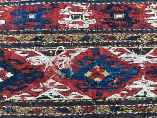 Crabs! Karabagh sumack mafrash end panel. Cm 36x50. Either end 19th or or early 20th century. Great drawing, good colors, very pleasant on the whole. quite a right fragment. Main pattern with  ...