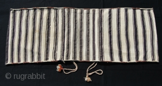 Shahsavan Moghan khorjin. Cm 42x120 ca. Early 20th century. Wool & cotton. Positive/negative dragon. simple, abstract, very minimalistic design. Except for two tiny stains, it's in wonderful condition, complete with straps. For  ...