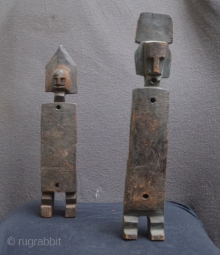 African wooden lock figures. West Africa: Dogon or Bambara. Roughly 43 cm high. Good age, great patina. Rare tribal pieces.