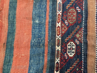 Anatolian cuval with a great central sumakh part. Cm 108x142. Antique enough to have all natural dyes. Could be Konya. Condition with minor issues as from pics.