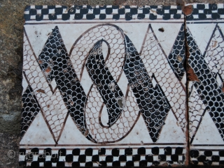 "1800/1850 Tiles from Naples area, Central Italy. Cm 20x20x1,5 each. Might be attributed to the famous ""Riggiole""  maker family Giustiniani. Fantastic graphic. See more pics on fb: https://www.facebook.com/media/set/?set=a.10151439899869258.545402.358259864257&type=1"