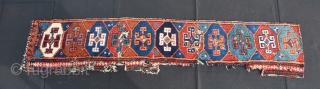 Kurdish rug fragment. Aleppo? Reyhanli? Cm 31x155. Mid 19th century. wonderful colors, great pattern with ram horn medallions. See more pics on my fb page: https://www.facebook.com/carlo.koc/media_set?set=a.10153790251778492.1073741859.579403491&type=1&pnref=story