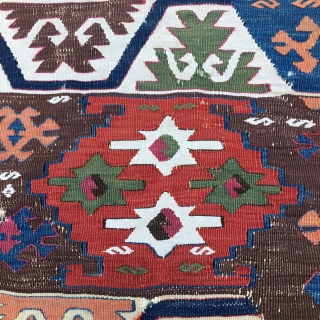 "Kilim fragment with fantastic colors. Cm 70x86 ca. East Anatolia. ""2nd half 19th c."