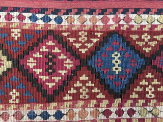 Wonderful antique natural color Sinanli bag face. Eastern Anatolia. Cm 69x73. See the fantastic cochineal, the lovely madder red & orange, the bright yellow, the deep indigo blue.....Great unusual thin weave in  ...