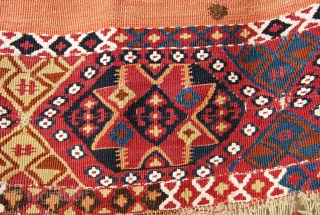 Eastern Anatolia, probably Malatya open cuval. Cm 85x150. Wrecked.....but with lovely colors. Note the silver thread outlining the stars.