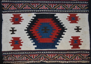 Shahsavan Moghan beautiful, charming, decorative kilim/sumack mafrash end panel. Cm 50x62 ca. Age: end 19th or early 20th c. Two wide stripes divided by narrow bands of extra weft wrapping. a masterpiece  ...