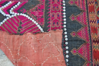 Kohistan woman dress front. Cm 60x70. Datable to the 1920ies/1930ies. Silk embroidery on cotton. Kafiristan/Nuristan/Kohistan woman dress fragment. Early 20th century. Kafiristan means land of infidels, Nuristan means land of light and  ...