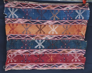 Two Anatolian cuval/storage bag fragments. Each is cm 60x80. Datable to the end of 19th, early 20th century. Great saturated dyes. Buy one or both.