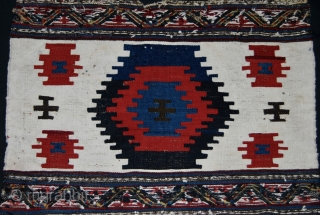 Shahsavan Moghan beautiful, charming, decorative kilim/sumack mafrash end panel. Cm 50x62. Age: end 19/early 20th c. Two wide stripes divided by narrow bands of extra weft wrapping. a masterpiece pattern as Parviz  ...
