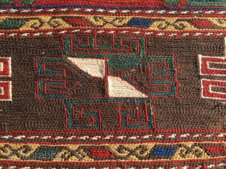 Shahsavan sumack mafrash panel. Cm 46x50. A mafrash end panel or a khorjin bag face?  End 19th c. Hypnotic eye dazzler. Fantastic saturated colors, great archaic pattern, in good condition,…..an eye  ...