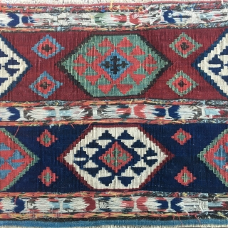 Wonderful Shahsavan kilim/sumack mafrash long panel. Great natural saturated colors. Very fine & tight weaving.   In mint condition. More pics & infos on rq. Pics shot in the late afternoon with  ...