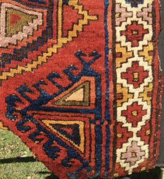 Karacadag village in the Karapinar area, within the Konya region. Cm 139x155. Dated 1810/1820. Fantastic high pile, wonderful colors rug fragment with a weird history behind: found, cut, reassembled, re-cut, mounted, re-cut.  ...