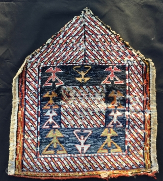 """Bakhtiari mafrash end panel. Cm 50x60 ca. End 19th, early 20th c. Wool, cotton. Lovely drawing with all those """"dancers""""? Rare, unusual and beautiful. Imo it needs a good wash."""