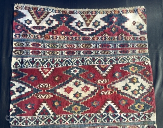 Sinanli star cuval/bag face. Cm 78x100. Datable 1870/1880. Wool & cotton. Stars, yin and yang, ram horns, S symbols all over. Really a beautiful and rare cuval. Colors? They are fantastic: various  ...