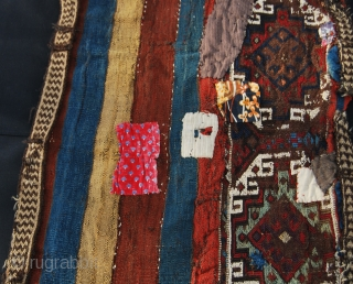 East Anatolian cuval in original condition after a long and heavy duty use. With tens of patches outside and inside. Size is cm 70x140 ca. I bought it about 30/35 years ago  ...