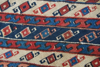 Finest Shahsavan Sumack bag or mafrash end panel. Could be Baku area. Cm 34x52 ca. Datable 1850+/- Great saturated colors. Very fine sumack weaving.