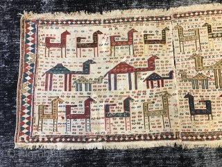 Caucasian Verneh horse blanket with sumack weaving. Cm 60x145 ca. Datable to 1860/1880. Could be either Karabakh or Shahsavan. Highly collectible item
