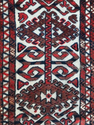 Turkmen Yomut tent band fragment. Cm 50x110 ca. Late 19th c most probably or earlier. Great piece. Very much enjoyable especially if mounted and hung on wall.