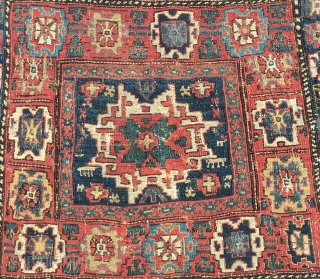 Shahsavan Lesghi star Top sumack bag. Cm 52x54. Imho it might be mid or even first half 19th c. Very rich, very primitive weaving, very beautiful saturated natural dyes. In good condition,  ...