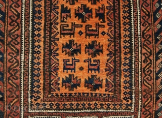 Baluchi balisht bag face. Cm 53x109. Early 20th c. Six yurts & six horses pattern. Good cond.