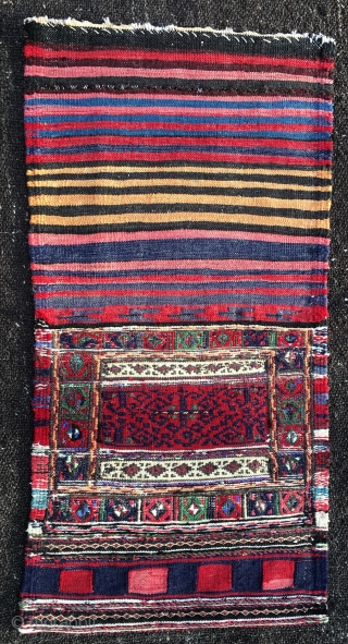 Khorjin bag. Cm 40x40, open 40x80. Early 20th c. Really weird and unusual bag. Might be Kurdish or Baluchi, or?! Not expensive. Have time? Have a look at my other posts: http://rugrabbit.com/profile/580