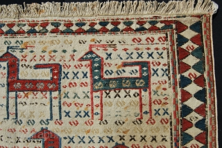 Caucasian Verneh animal caravan horse blanket with sumack weaving. Cm 60x145 ca. Datable to 1860/1880 if not earlier.... Karabakh or Shahsavan. Great colors. Antique, rare, beautiful, collectible.