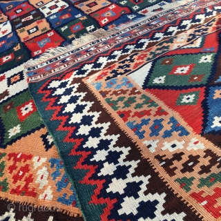Qashqai kilim. The best I've ever seen. Cm 150x230 ca. Late 19th or early 20th c. For the beauty, for the state of conservation, for the dileks/wishes spread here and there I  ...
