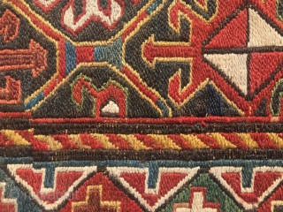 Beautiful, classic Shahsavan sumack bag face. Cm 60x60 ca. End 19th c. All good colors. In very good cond.