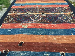 An Anatolian wreck! But, what a wreck! Great natural saturated colors, lovely sumack center part. Holes everywhere, and still this antique peasant tribal art cuval sings the glory of those days, of  ...