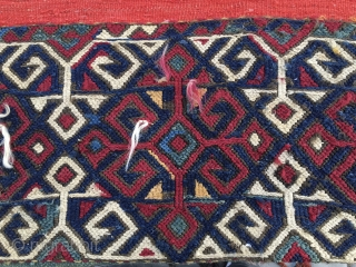 Eastern Anatolia open storage bag/cuval. 1880s. Awesome colors. Flatweave & sumack. Some metal thread here & there. A couple of minor condition issues. A tribal art jewel. More pics & infos on  ...