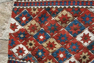 Shahsavan Sumack Star mafrash end panel. Cm 46x54. End 19th/early 20th century. Great natural colors, lovely star pattern.