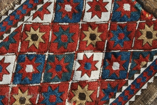 Shahsavan, sumack weave, star design, side mafrash panel. Cm 44x110. Late 19th or early 20th century. Beautiful star pattern, lovely deep, saturated colors, good condition.