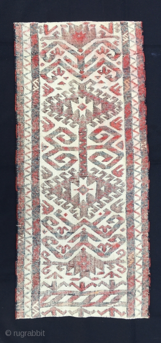 Tent/Yurt band section/fragment. Cm 46c101 cs. Late 19th century or so. Pile and flat weave. Symmetrical knotting on weft faced ground. (Marla Mallett: Woven Structures). Great piece. Very much enjoyable especially if  ...