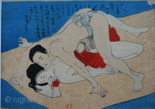 Shunga, antique Japanese erotic prints. Three beautiful ones, second half 19th century. Size of each is cm 13x17 ca.
