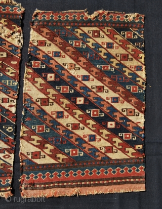 Shahsavan sumack mafrash end panels from Baku area. Two fantastic pieces with great saturated colors. Datable 1860/1880. Ask for more pics 6 infos.