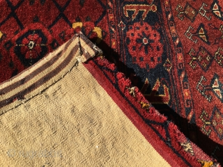 Turkmen Beshir mina khani pile cuval. Cm 100x180 ca. Early 20th c or even before? Complete, huge size, very tight weave, very heavy, great colors, see the super yellow!, good condition except  ...