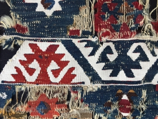 Reyhanli kilim fragment. Cm 64x100.  Eastern Anatolia, Aleppo area. Cm 64x100 ca. Reasonably mid 19th century, or earlier? This is what was left of a wonderful kilim strip i bought years  ...