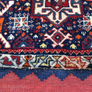 Qashqai complete khorjin bag. Open is cm 74x116, closed: cm 58x74. Late 19th or early 20th c. Lovely, colorful pile front, great modern art kilim back, lovely color selection, good condition. The  ...