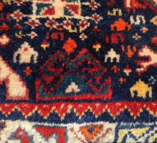 Qashqai complete khorjin bag. Cm 58x74. Late 19th, early 20th c. Lovely, colorful pile front, great modern art kilim back, lovely color selection, good condition. The numbering should refer either to the  ...