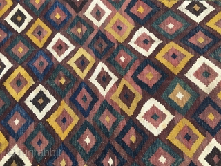 Maimana kilim. Cm 215 332. Late 19th/early 20th c. Wonderful colors. Lovely pattern. A few tiny holes here & there otherwise in good condition.