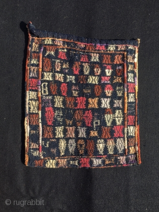 Chanteh/vanity bags. South Persian small jewels. Cm 35/38 ca. each. Fully brocaded. Could be Qashqai? Some said Shahsavan. Back in plain indigo blue. A lovely tribal art present. Colors? Age? No idea,  ...