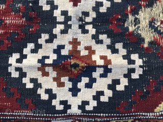 Trade use to call these bags simply Malatya. This one is a Sinanli tribe saddle bag face. It's over 100 years old. Size is cm 63x77. Madder dark red, indigo deep blue  ...