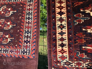 Turkmen Yomut cuvals. Three great pieces, of which the first one from the left is brand new to the market. The second one: http://rugrabbit.com/node/156848