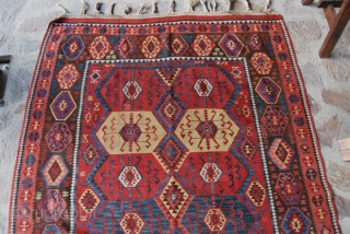 "Kars Kilim, Eastern Anatolia, cm 155x410, 2nd half 19th century, great colors, great condition, few minor restorations, rare, collection piece. - For ref see ""KIlims"" by Yanni Petsopoulos, page 222, Thames &  ..."