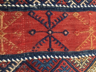 Eastern Anatolia, Malatya area cuval face. Cm 70x110 ca. Early 20th c. Great colors. Reasonable price. (Frankly I thought it was from Bergama area!)