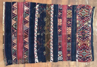Sinanli kilim/cuval fragment. Cm 68x102. Datable 1860/1880 or earlier. The Sinanli were part of the bigger Reshwani tribal group. They were mainly located in Eastern Anatolia. This lovely fragment might be a  ...
