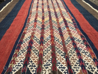 Sinanli, Malatya area special pattern cuval. Cm 100x120. Datable 1880sh. Very rare, never seen pattern. Fantastic natural saturated colors. Two places with tiny amount of fuchsine. It was very very expensive at  ...