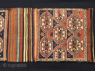 """Shahsavan sumack khorjin. Cm 43x113. End 19th century. Complete and in good condition. Very fine weave. All natural lovely dyes. Bags are filled with white hooked hexagons containing """"Kochanak"""" motifs. Brand new  ..."""
