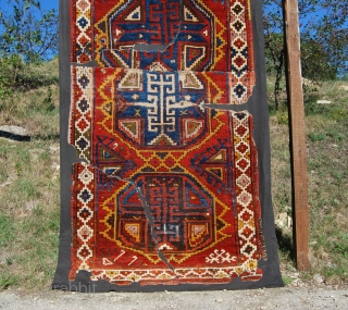 Konya Karapinar/Karacadag village rug fragment. 1810/1830. Gorgeous colors, bold geometrical design. Great Anatolian collector's piece. See the back side pic after mounting and the one before mounting.