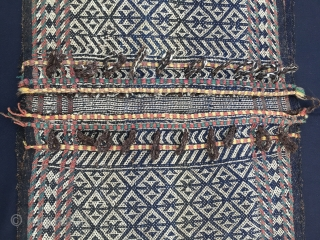 Qashqai Dareshuri tribe warp-faced saddle bag/khorjin. Cm 62x112. Late 19th or early 20th century. Cords in perfect condition. Open on sides. Some old, small repairs. Charming, collector's piece. Iranian friends call this  ...